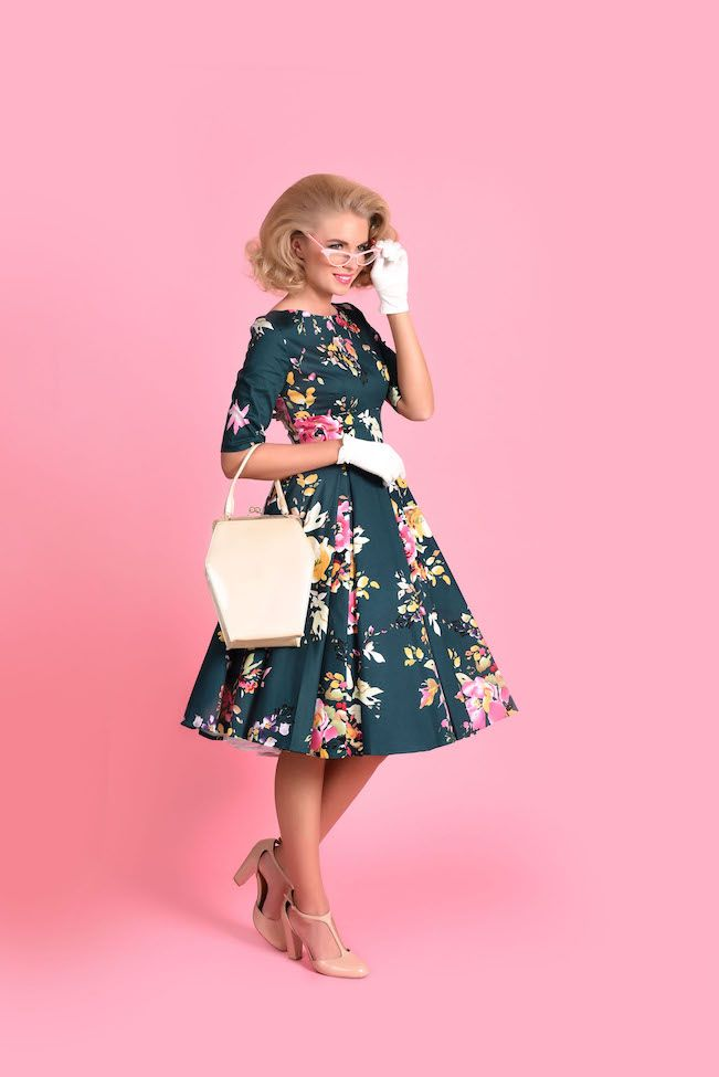 fc8d9e2489f Vintage Deep Green Seville Floral Half Sleeve Hepburn Swing Dress ...