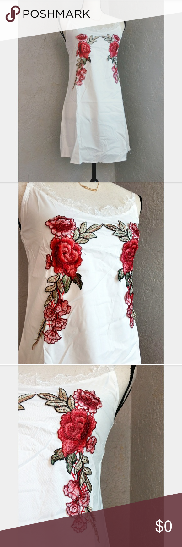 Red rose embroidery black slip dress rose embroidery dress brands