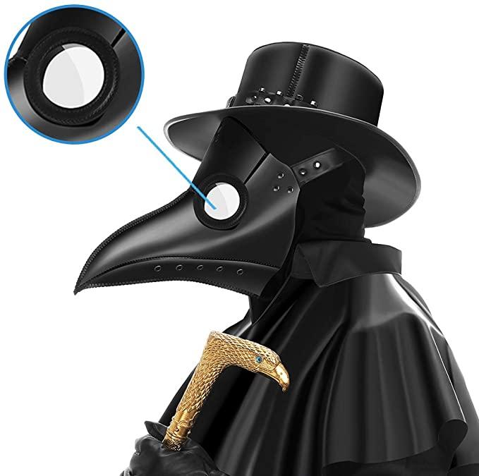 Amazon Com Partyhop Leather Black Plague Doctor Mask Bird Beak Steampunk Gas Costume P1 Clot Black Plague Doctor Mask Black Plague Doctor Plague Doctor Mask