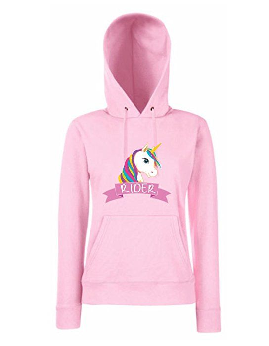 Einhorn Damen Madchen Hoodie Rider Mit Unicorn Motiv Spruch Fun Cool Ladyfit Light Pink Xs Lady Madchen Und Damen