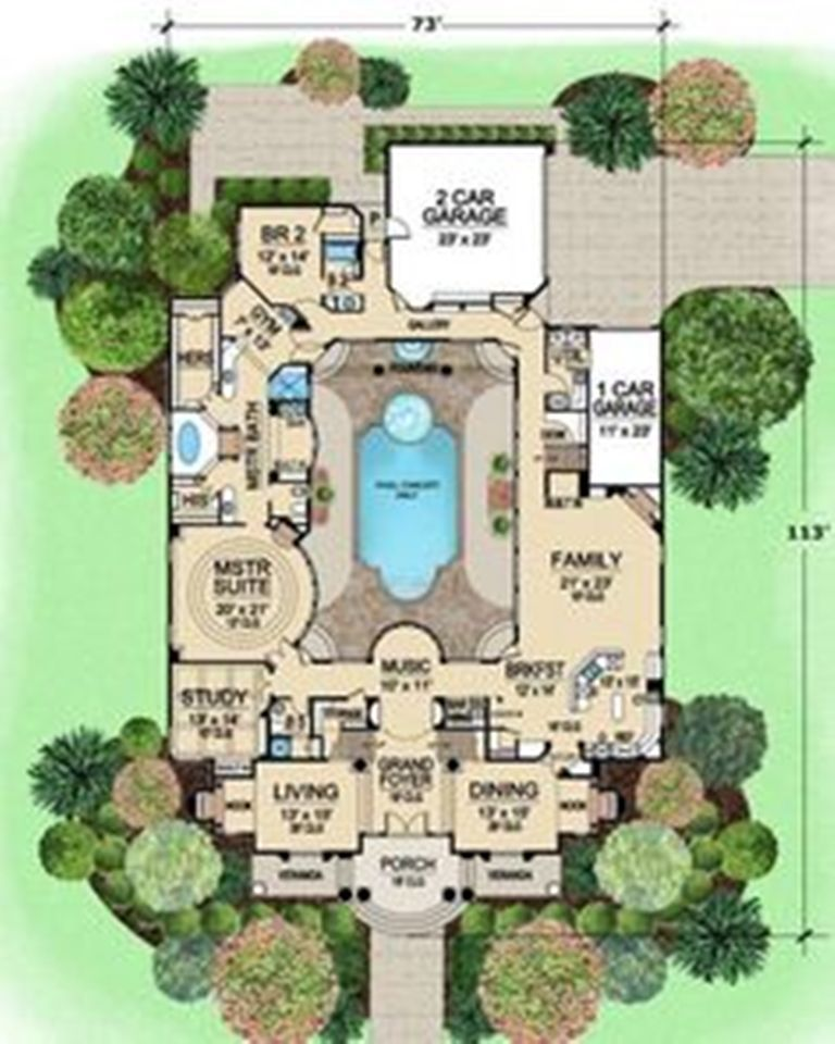L shaped house plans with courtyard pool some ideas of l for U shaped floor plans with pool