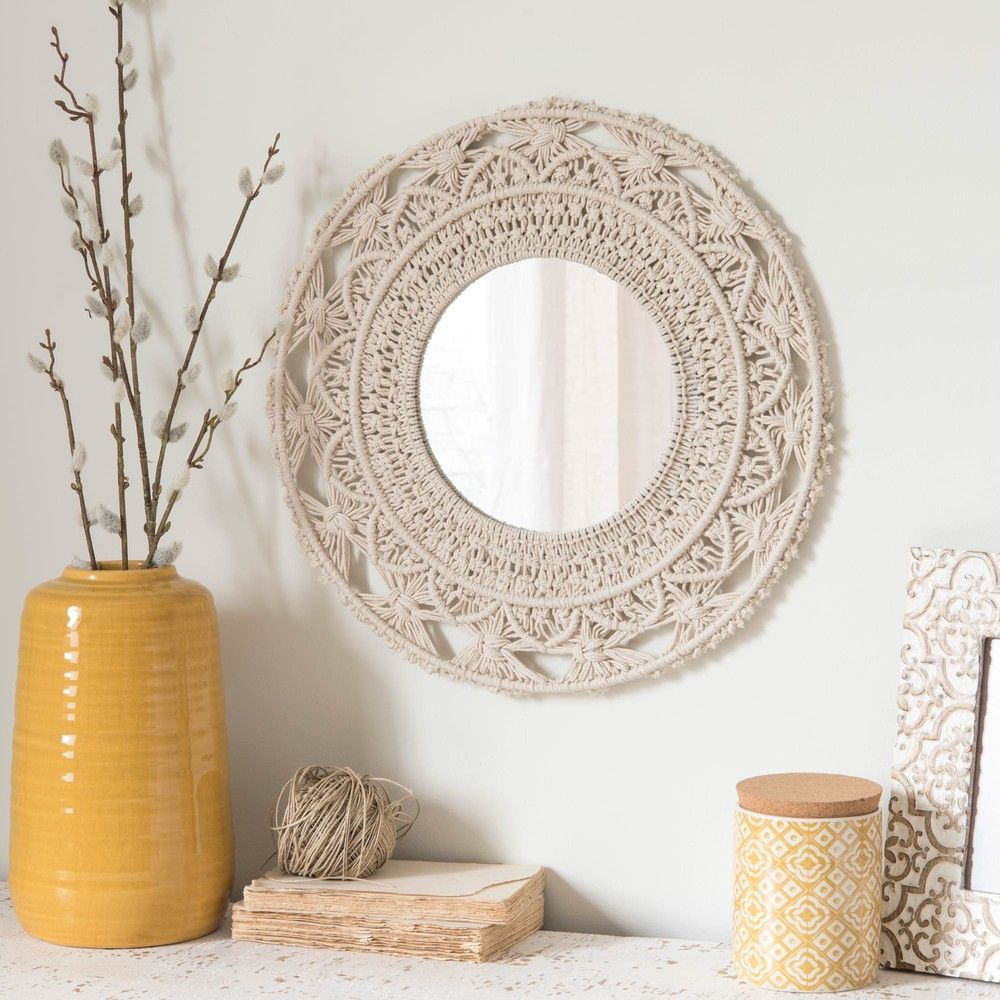 Kirkli Beyaz Macramette Pamuklu Ayna 40x40 Maisons Du Monde