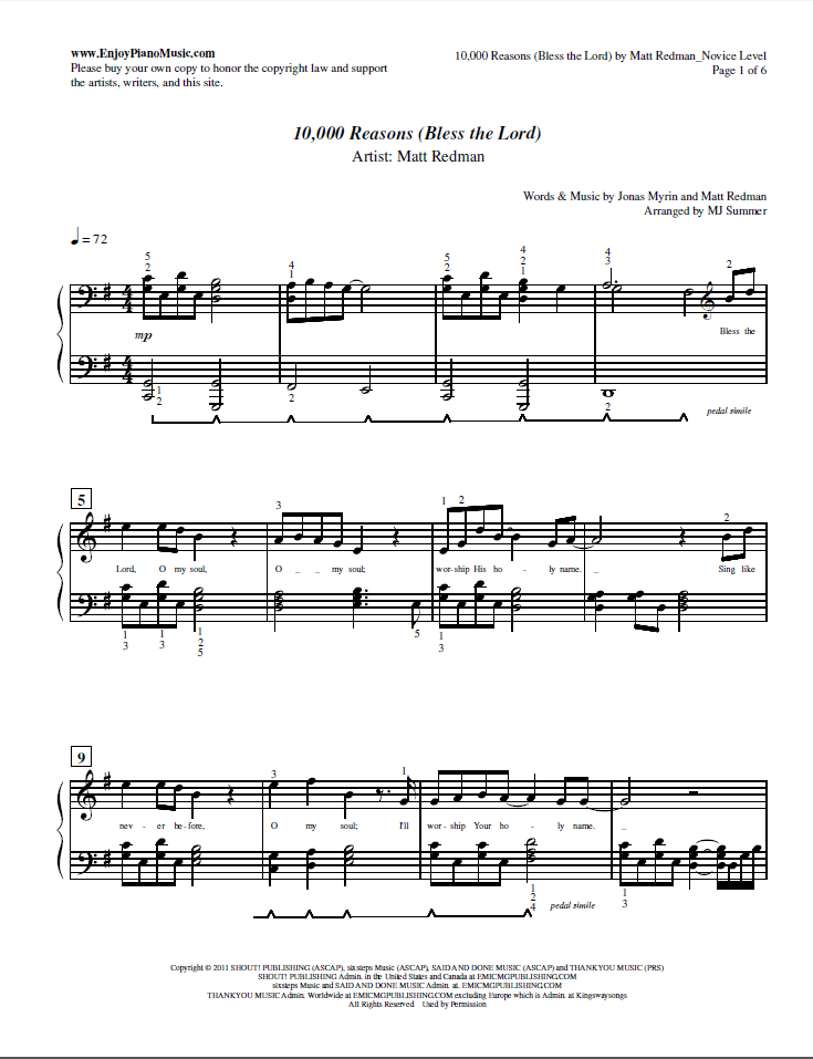 10000 Reasons Sheet Music For Piano Download Pdf File And Print