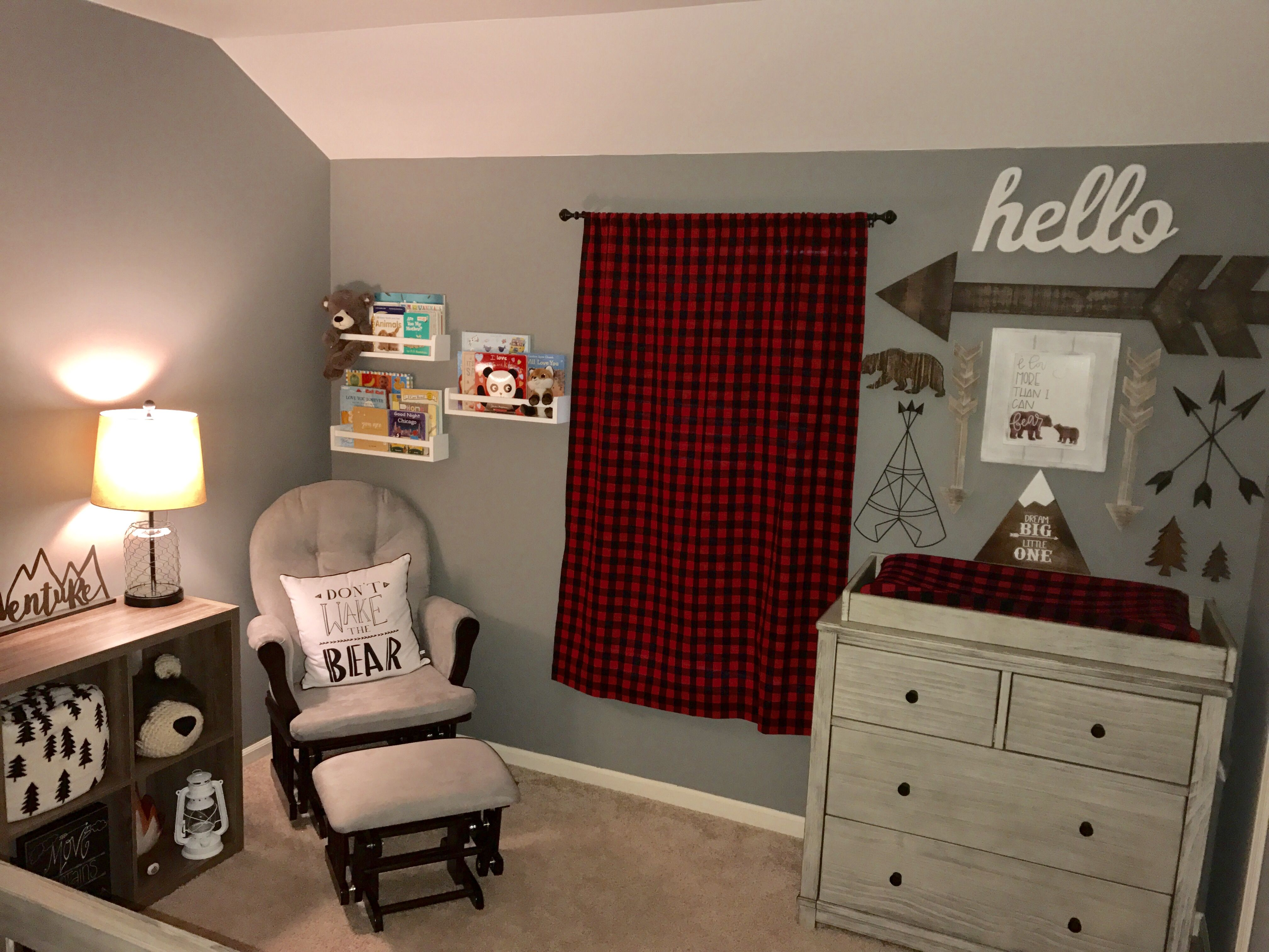 Woodland Nursery Theme Buffalo Plaid