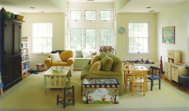 Play Area Behind Couch Family Room Living Room Colors Living Room Spaces