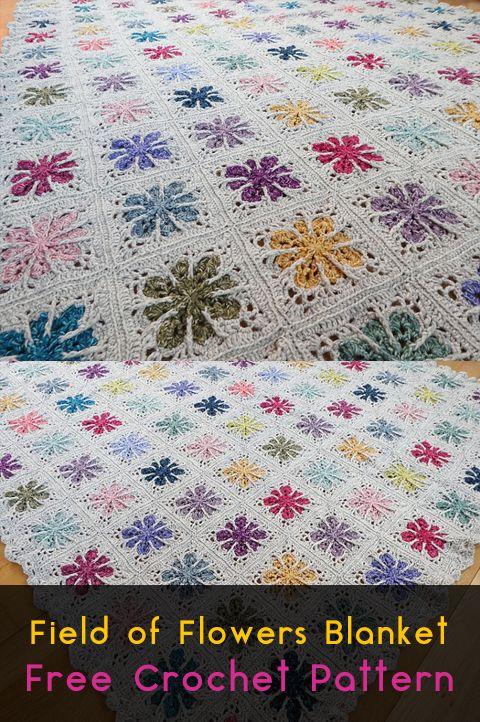 Field of Flowers Blanket Free Crochet Pattern #crochet #crafts ...