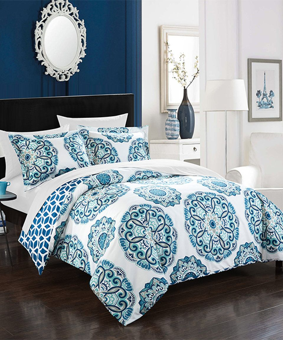 love this blue chic home malaga reversible duvet setchic home