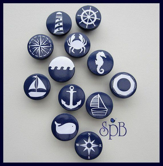 Nautical Knobs • Navy • Anchor • Sailboat • Helm • Lighthouse • Whale • Dresser Knobs • Drawer Pulls