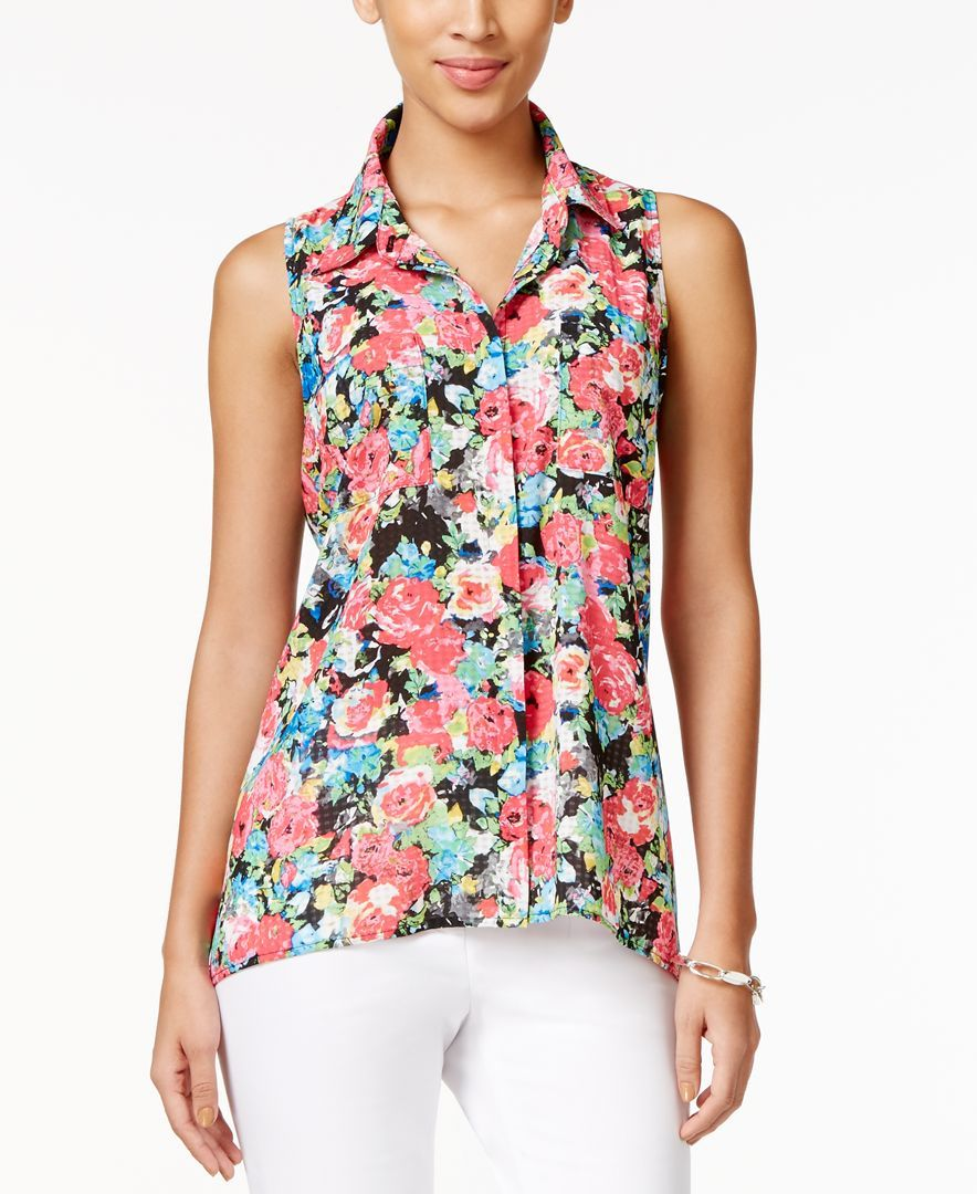 Ny Collection Floral-Print Swing Blouse