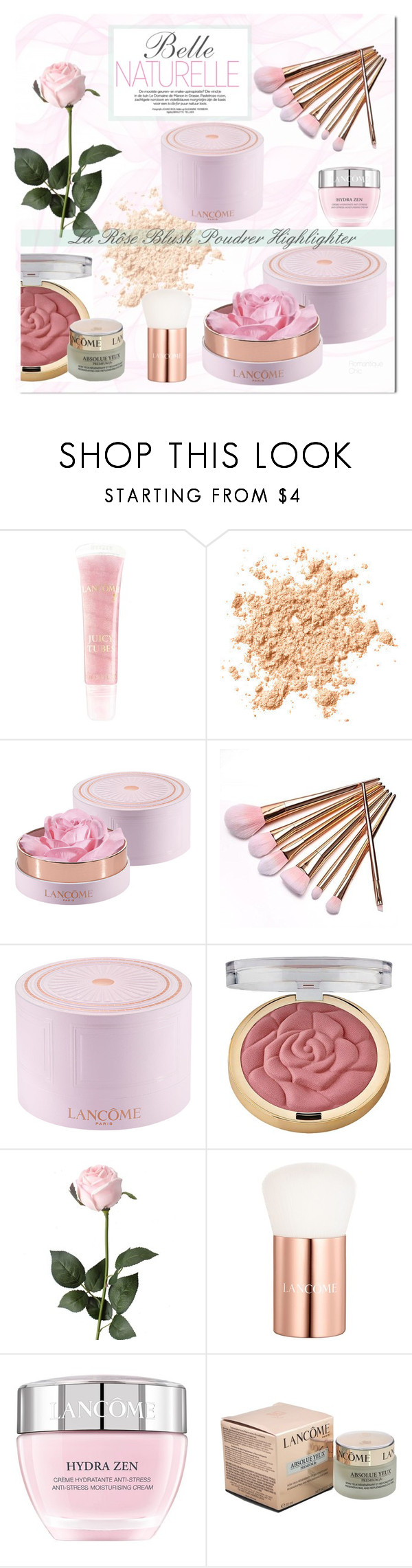 """~ La Rôse Blush Poudrer Highlighter~"" by romantiquechic ❤ liked on Polyvore featuring beauty, Lancôme and Milani"