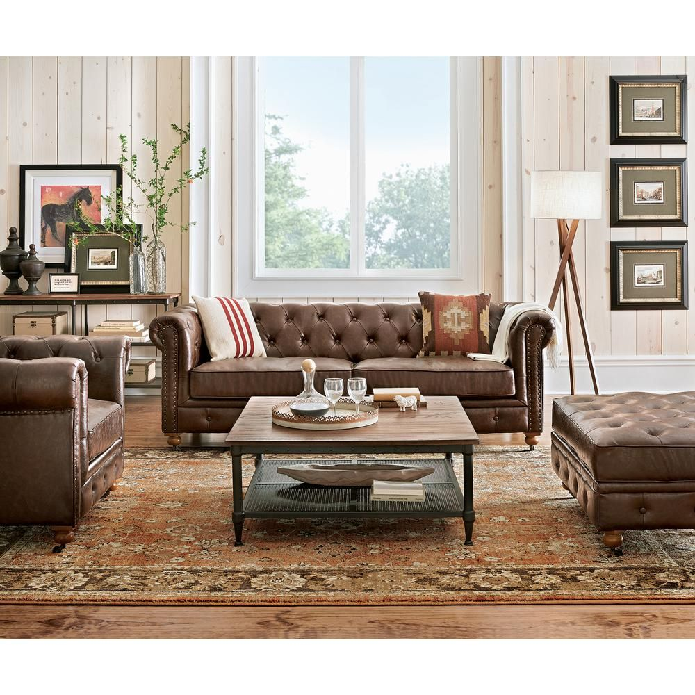 Home Decorators Collection Gordon Brown Leather Loveseat In 2019