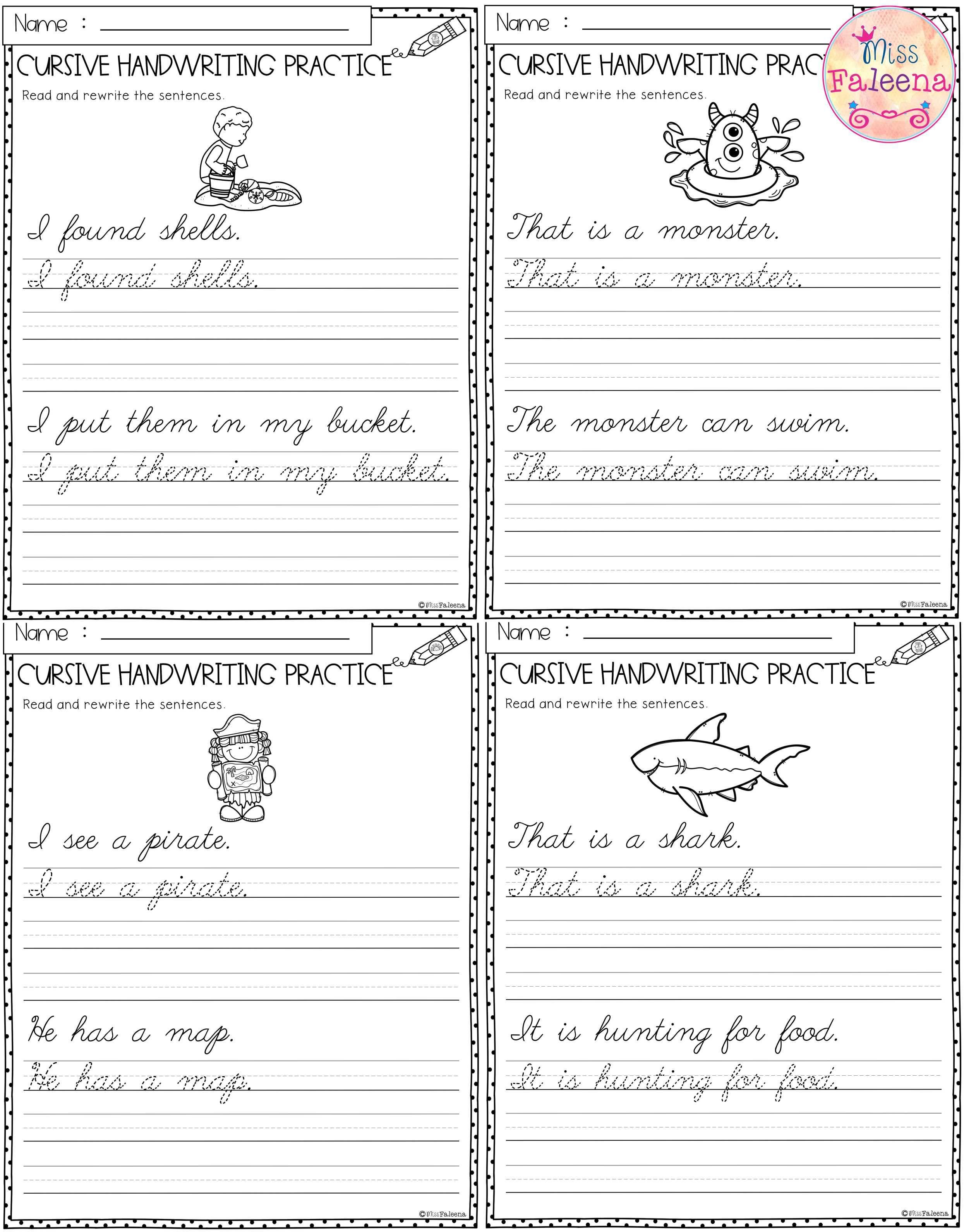 Summer Cursive Handwriting Practice