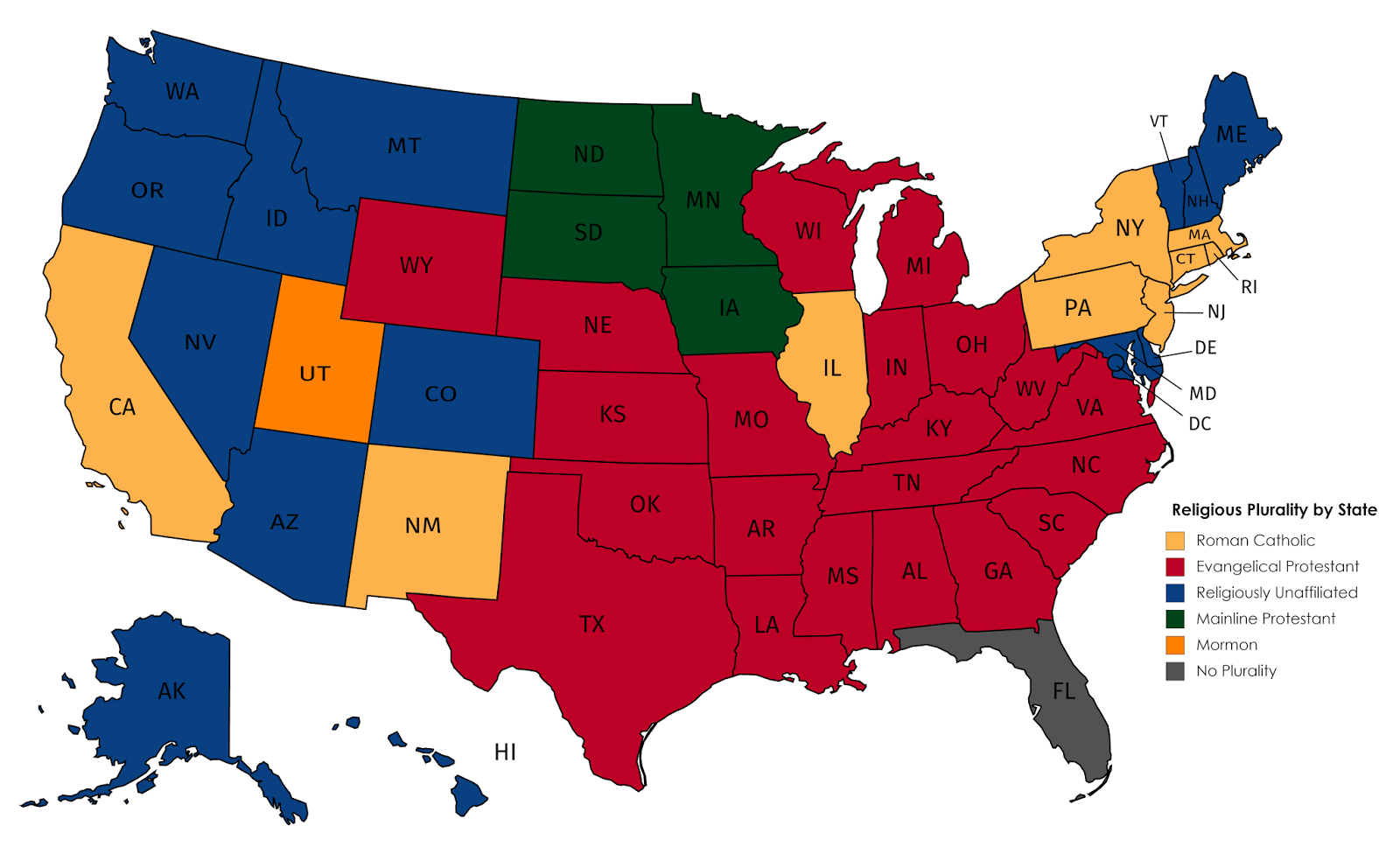 Religious Plurality by US State Maps Pinterest