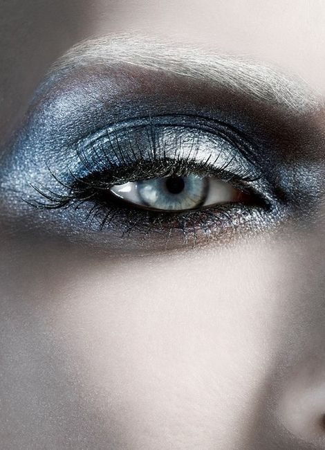 Silver/ Metallic Eyeshadow. Very pretty on blue eyes. (This fantasy glowing white look is perfect for making blue eyes pop)