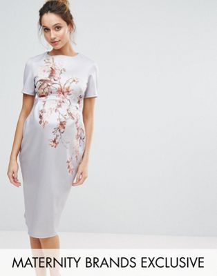 Hope & Ivy Maternity Bird Print Bodycon Midi Dress - Blue Hope & Ivy Maternity Sast For Sale Buy Cheap Eastbay Nicekicks Cheap Online Genuine Latest Cheap Online XZ4kIrqSIa