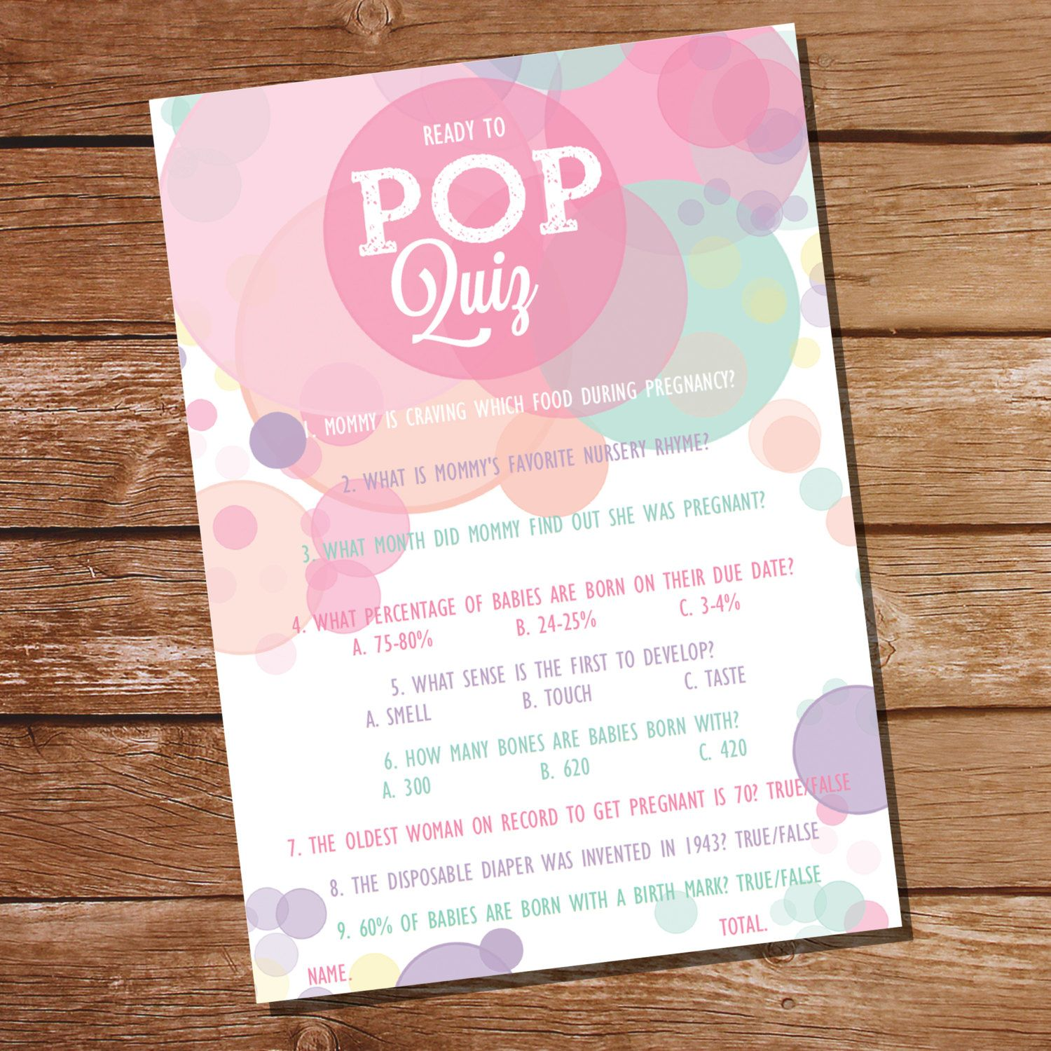 Ready To Pop Baby Shower Pop Quiz Baby Shower by SunshineParties ...
