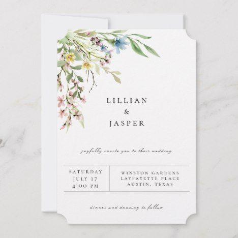 Elegant Wildflower Bouquet Wedding Invitation | Zazzle.com