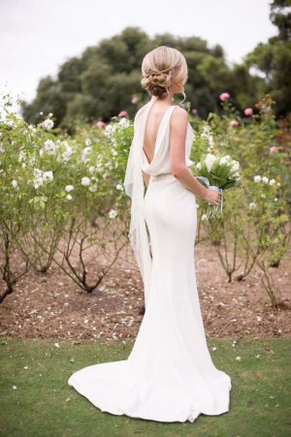 Cowl back lace wedding dress   Elegant Vineyard Wedding Dresses Ideas Perfect for Casual