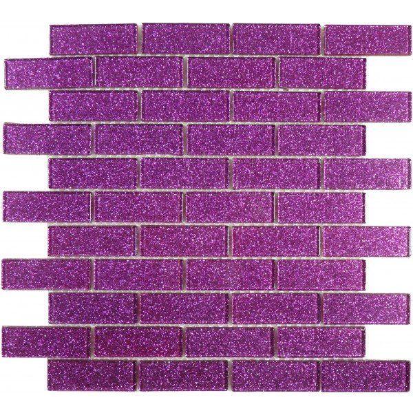 Purple 1'' x 3'' Glass Glossy Tile Diy bathroom remodel
