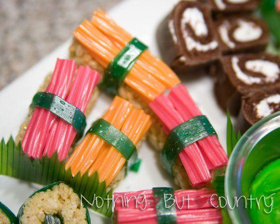 Candy/dessert sushi for Japanese club: WIN for @Jessica Harris Hansen #dessertsushi