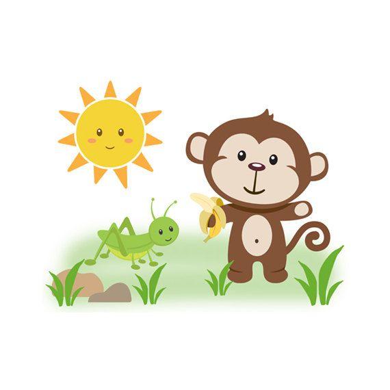 Monkey Decal Sticker Safari Jungle Animal Baby Por