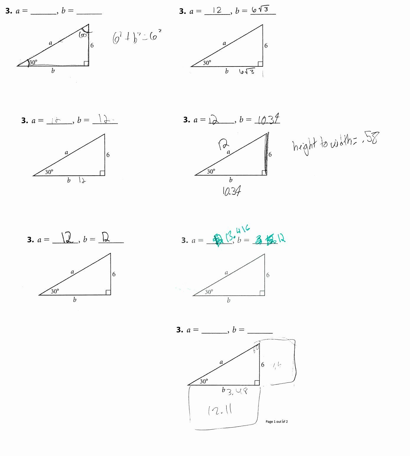 Qualified Right Triangle Trigonometry Worksheet