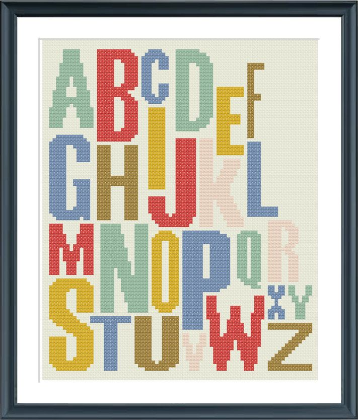 A Modern Alphabet Pattern Try Different Color Combinations And