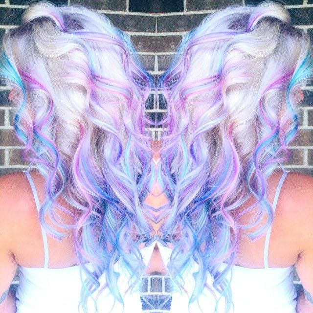 Inspiration Platinum Roots With Purple Blue Pink Highlights