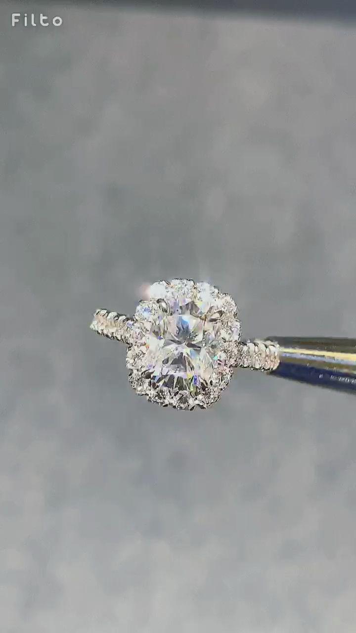 2 Elongated Cushion Moissaniye and Diamond Halo Engagement Ring 2 Elongated Cushion Moissaniye and Diamond Halo Engagement Ring Engagement