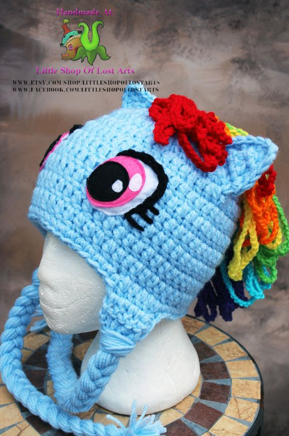 fa53af8e924 Rainbow dash my little pony MLP inspired crochet hat with earflaps Made to  order