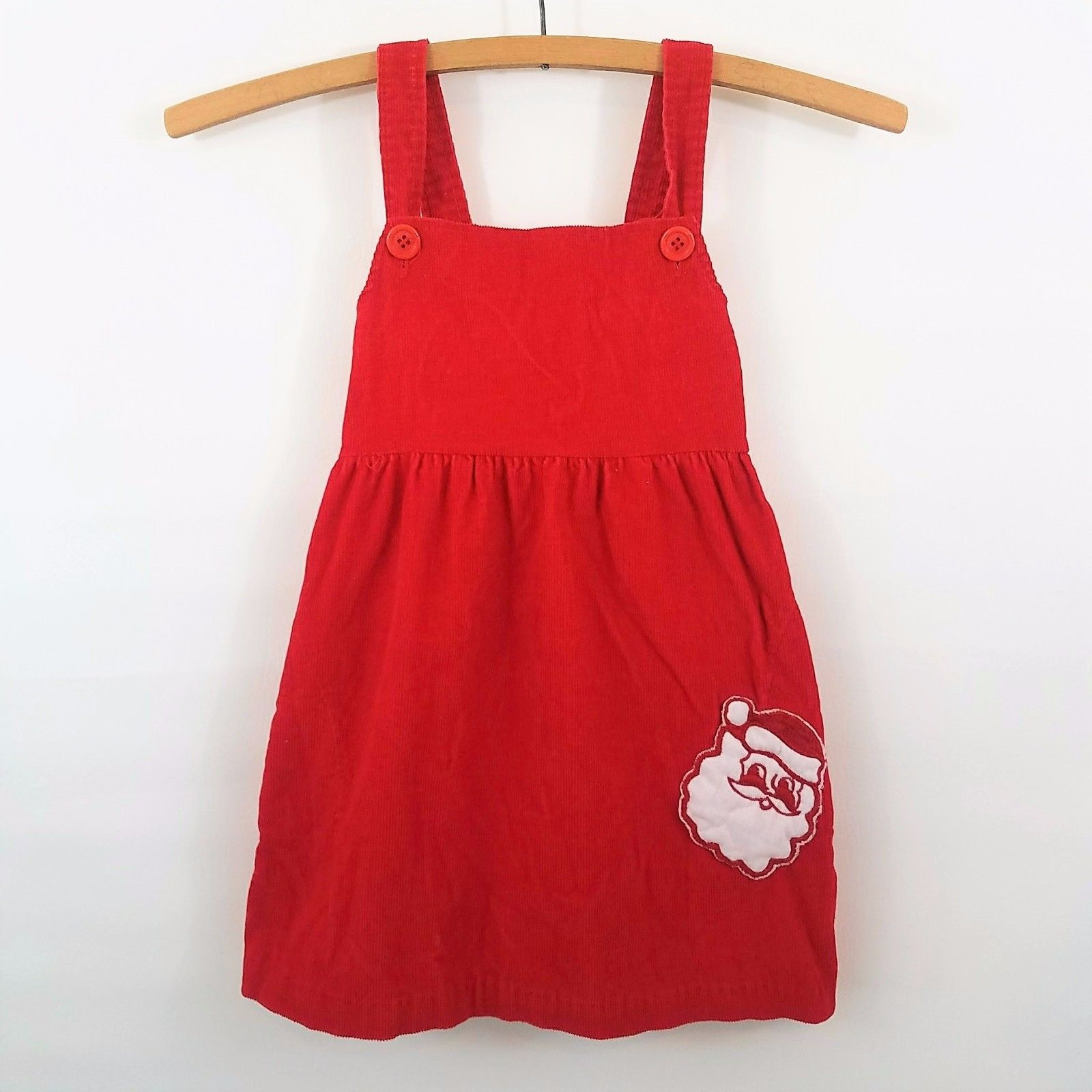 Nice Awesome Vtg Girls 6X Christmas Jumper Dress Santa Applique