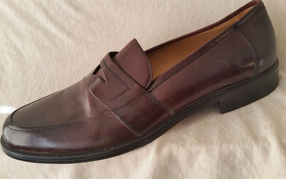 14d74e7308b 10 M JOHNSTON  amp amp  MURPHY Hayes Dress Penny Loafers Men Brown Leather  Made