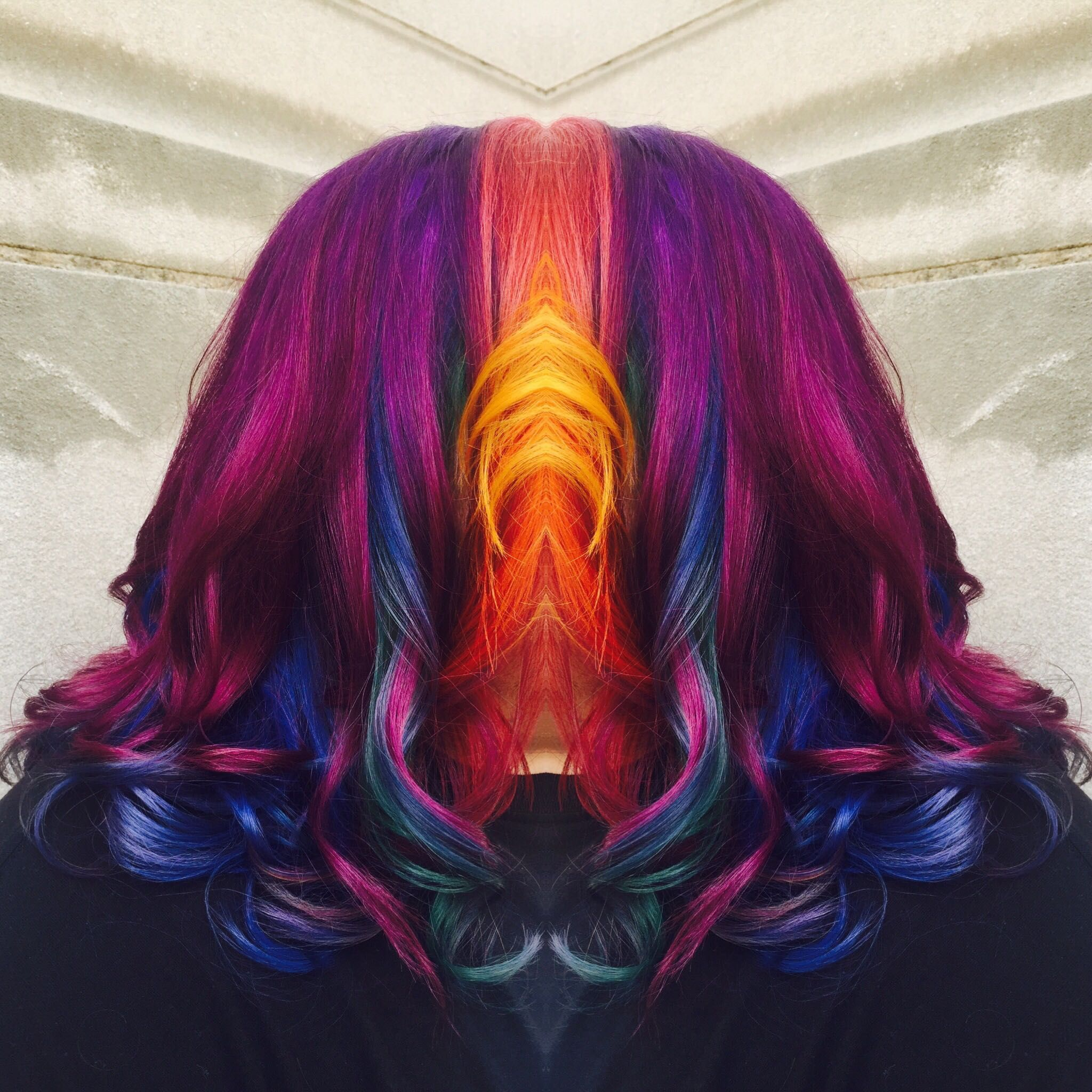 Rainbow hair (with a instagram edit to hide my client's face)