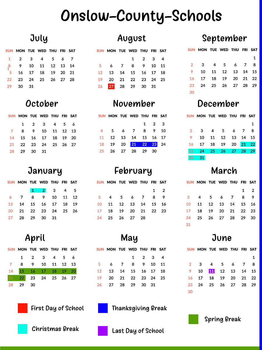 Onslow County Schools Calendar School calendar, Calendar