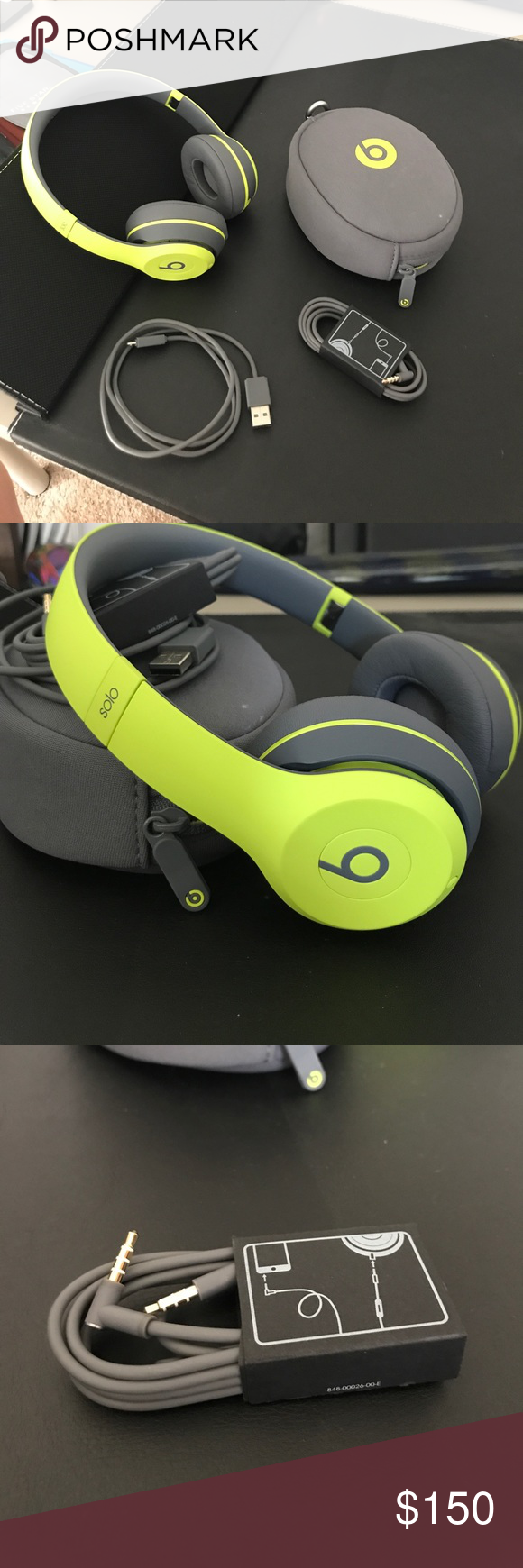 Beats Solo Wireless Headphones Grey And Neon Green Great Condition