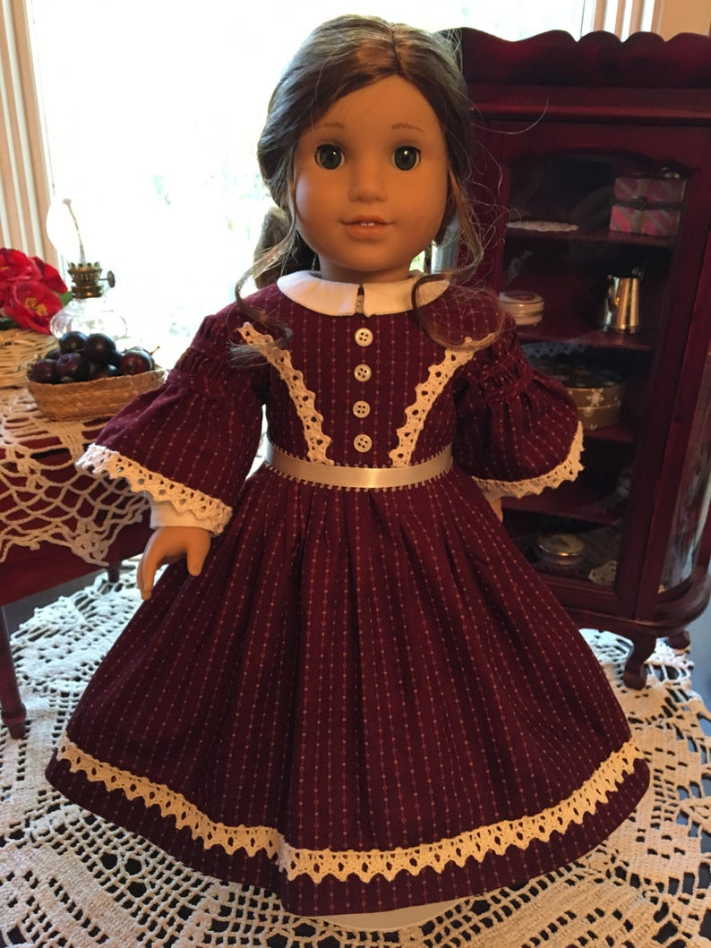 Red 1800's Historic Doll Dress to fit your 18 American Girl Doll #historicaldollclothes