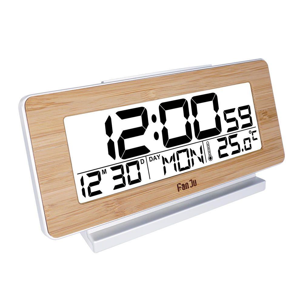 Fanju Fj3523w Desk Clock Electronic Digital Table Clock Led Wooden
