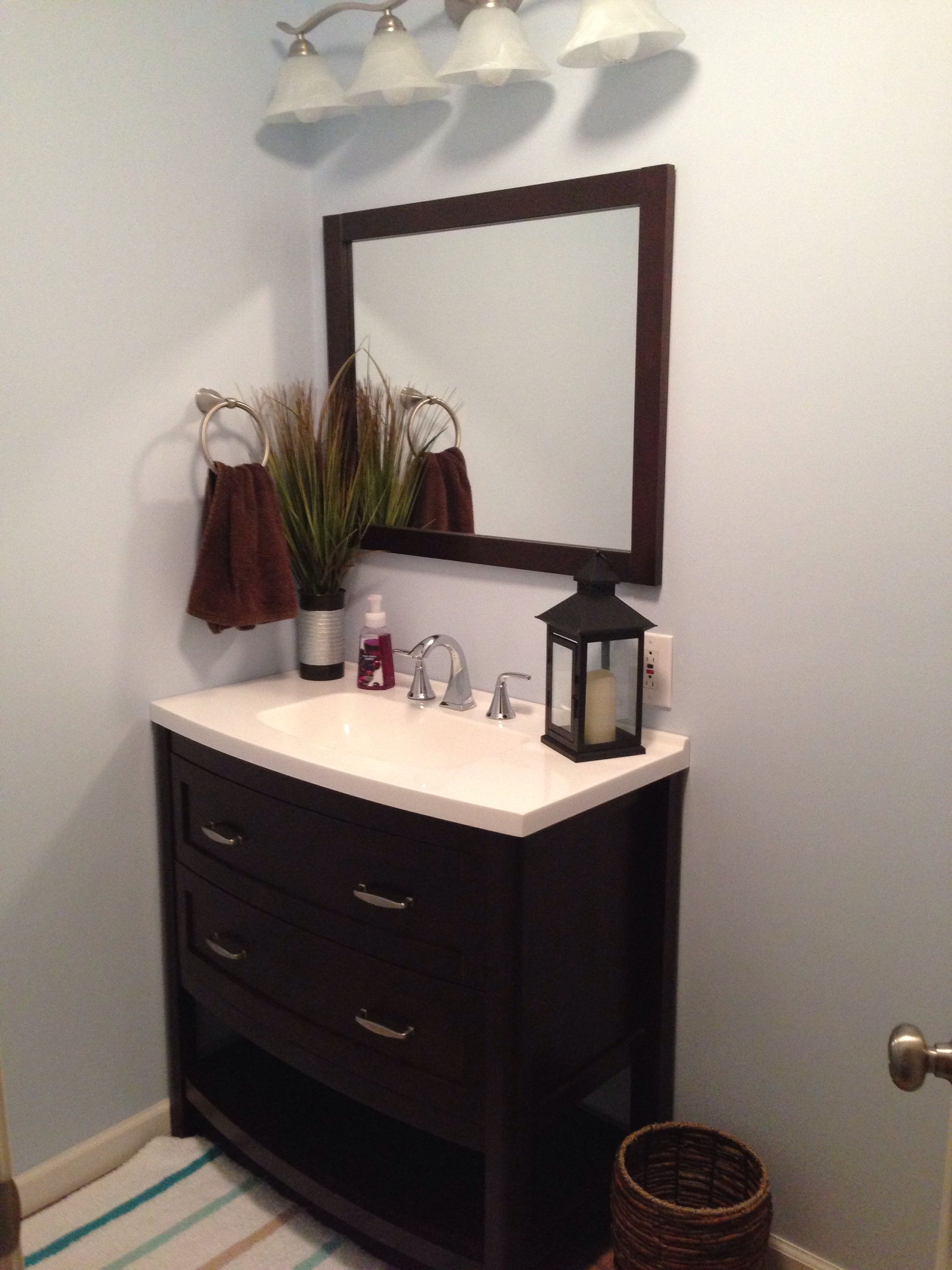 My brand new bathroom using Benjamin Moore Breath of Fresh