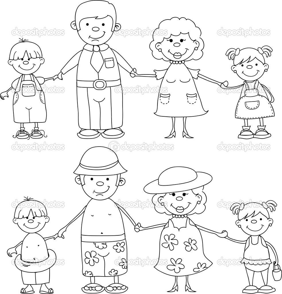 Family Members Coloring Pages Maryell Pinterest Sketch ...