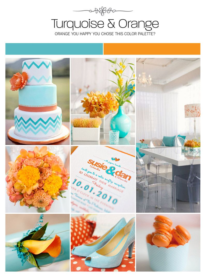 Turquoise And Orange Wedding Inspiration Board Color Palette Mood Via Weddings Ilrated