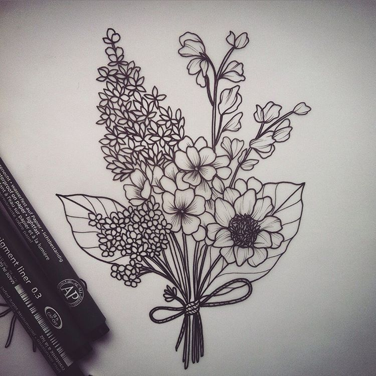Bunch Of Wild Flowers Available Yarrow Lilac Sweetpeas Primroses And Anemone Lilac Tattoo Wildflower Tattoo Inspirational Tattoos