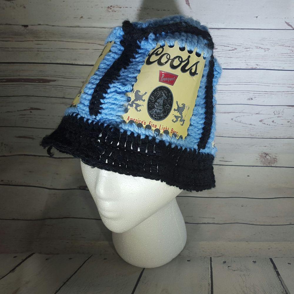 Vtg Retro 70 s Handmade Crochet Coors Beer Can Bucket Hat  Handmade  Bucket fce7816319e