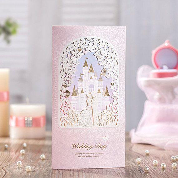 12 Disney Cinderella Wedding Invitations Castle Wedding Invitation