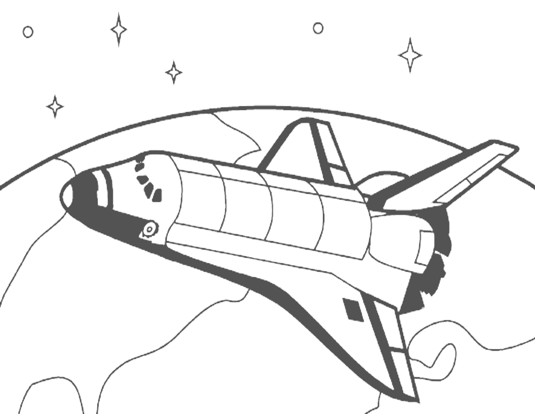 Shuttle In Orbit Coloring Page Clipart