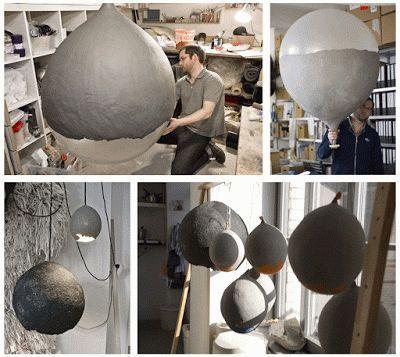 riesen lampe mit einem luftballon schnell selbst gemacht. Black Bedroom Furniture Sets. Home Design Ideas