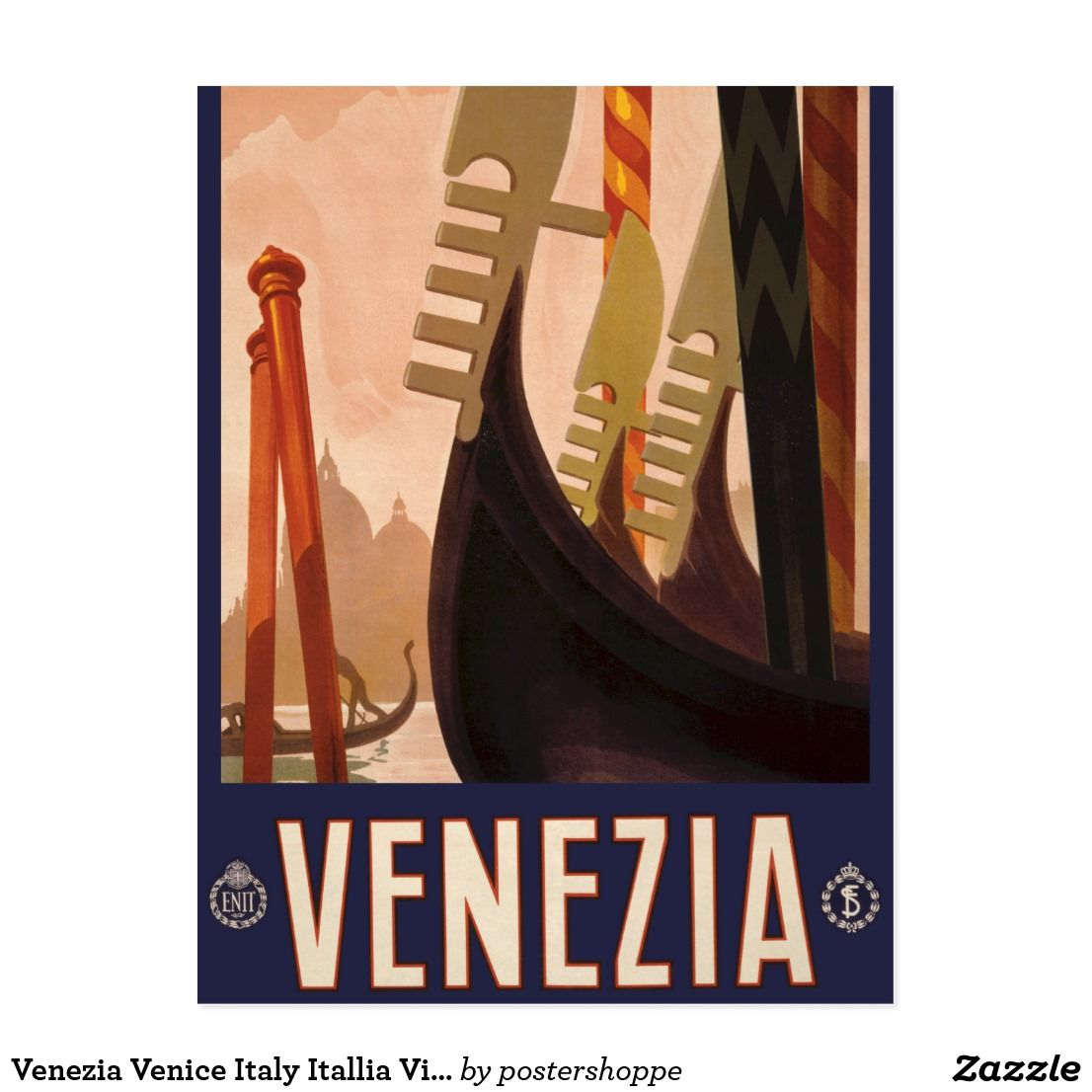 Venice Travel Framed Canvas Art Print Poster A4 A3 Bar Retro Vintage Lido