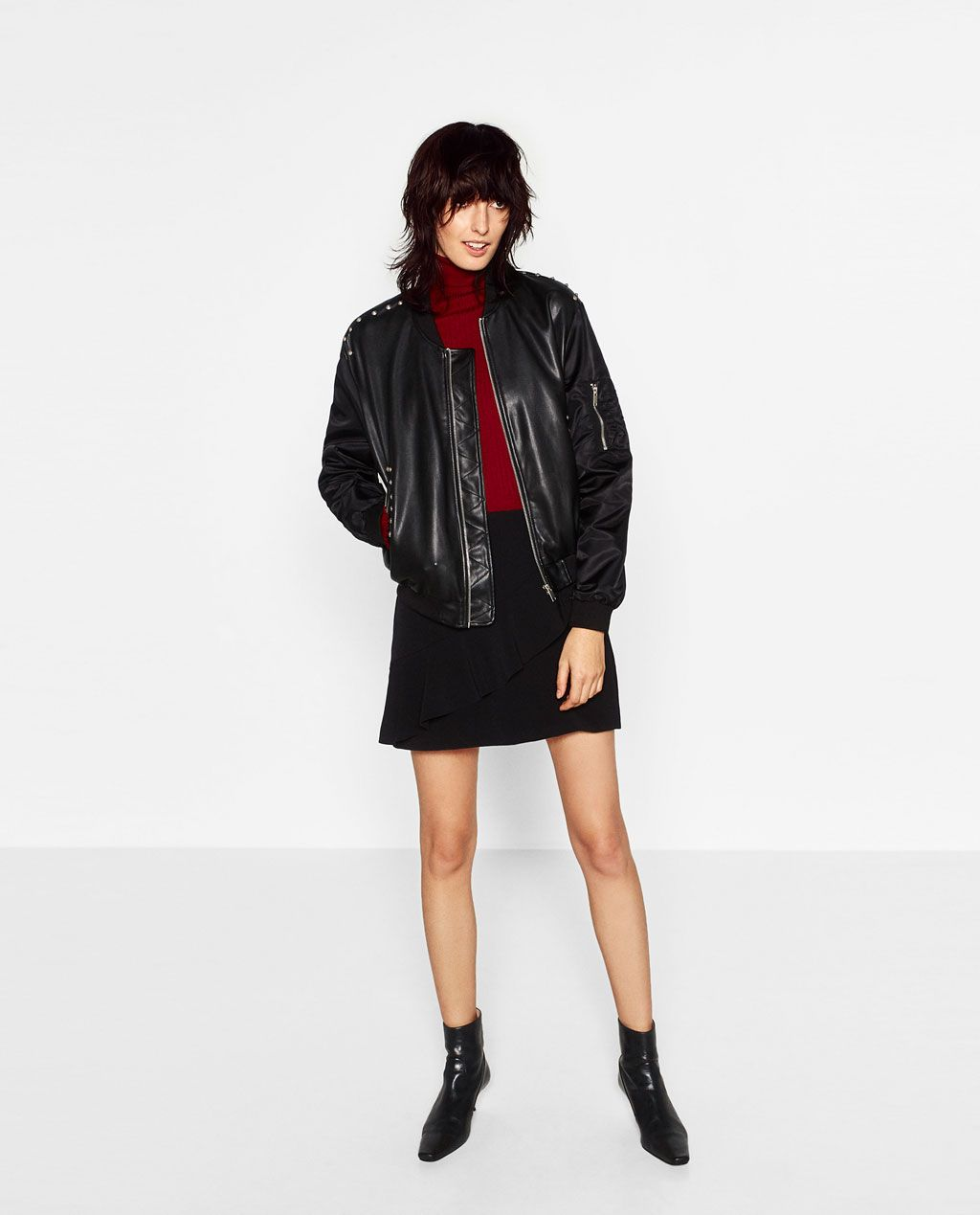ZARA - WOMAN - EMBROIDERED LEATHER EFFECT BOMBER JACKET