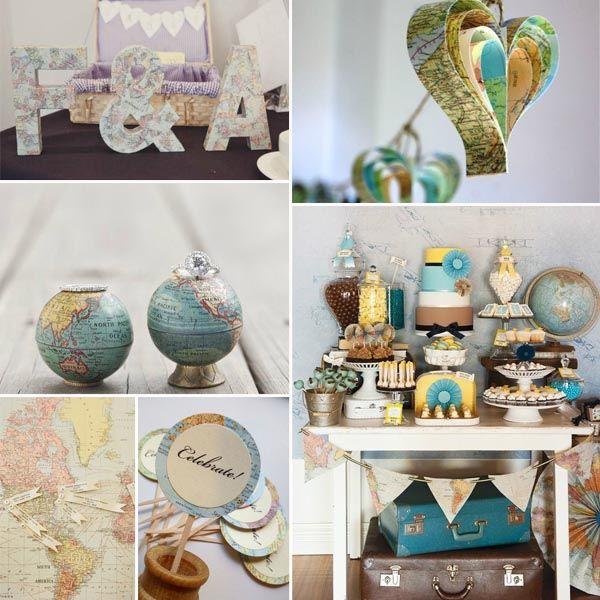 die Weltkarte und der Globus dekorierte Hochzeit Reise