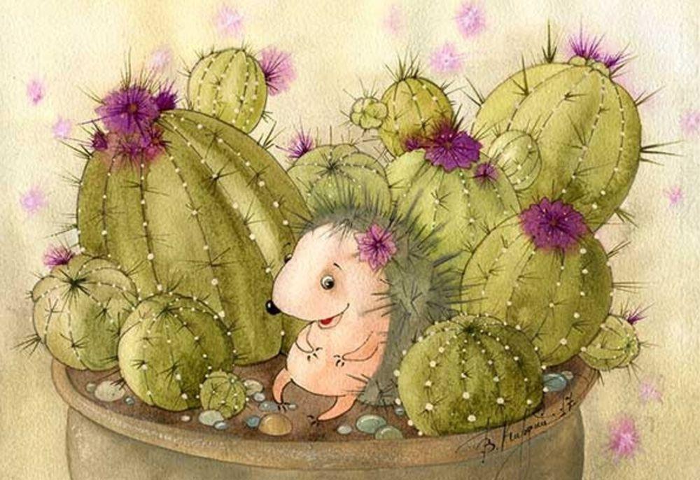 картинки ежиков с кактусами