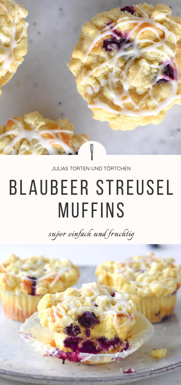 Saftige Blaubeer Streusel Muffins - Kuchen fürs Büro